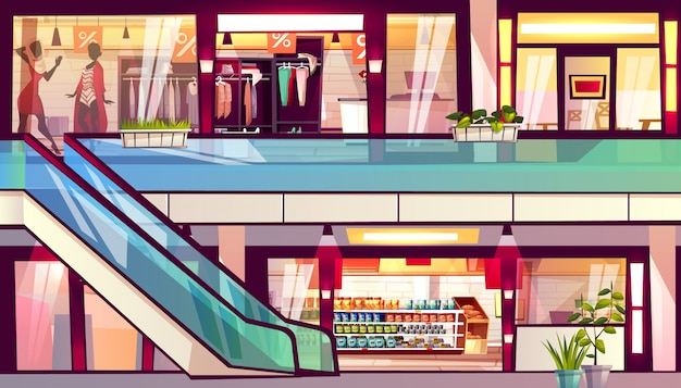 Mall with shops and cafes illustration. escalator staircase with grocery store supermarket Free Vector