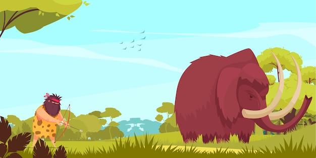 Иллюстрация шаржа охоты мамонта при примитивный человек держа лук и стрелы после большого животного Бесплатные векторы