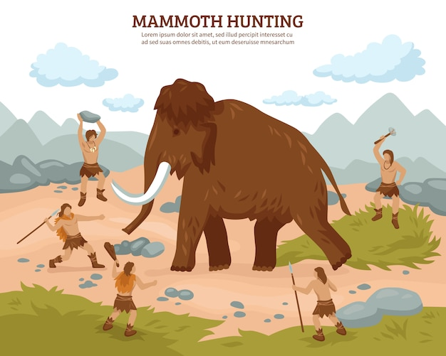 Mammoth hunting background Free Vector