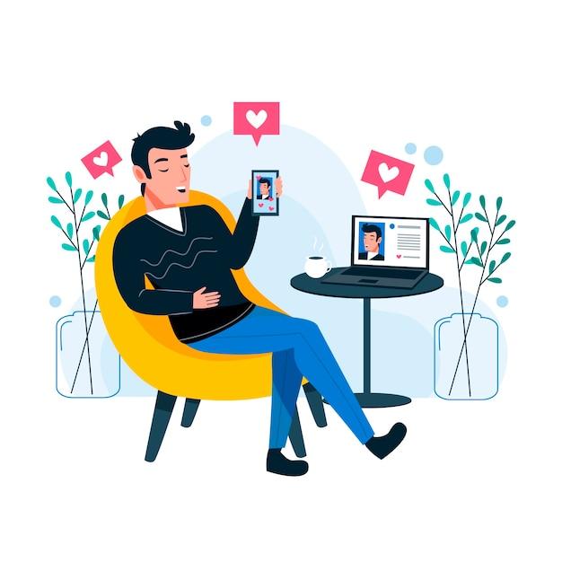 Un uomo dipendente dai social media Vettore gratuito