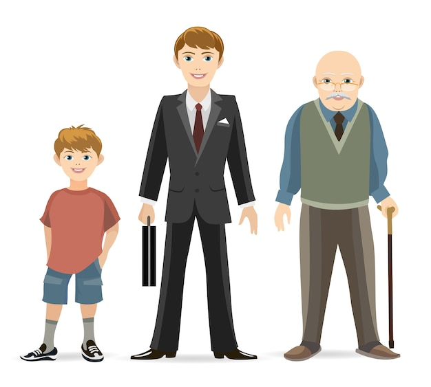 Иллюстрация концепции прогресса возраста человека. старый и взрослый, молодой мужчина, возрастной мужчина. Бесплатные векторы