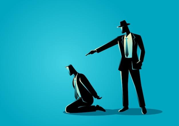 Man aiming a gun to the kneeling man's head Premium Vector