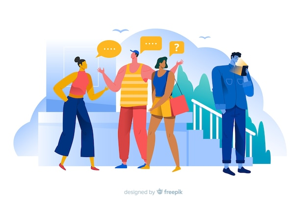Man alienated from friends concept illustration Free Vector