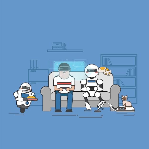 Man and robot playing video games Free Vector