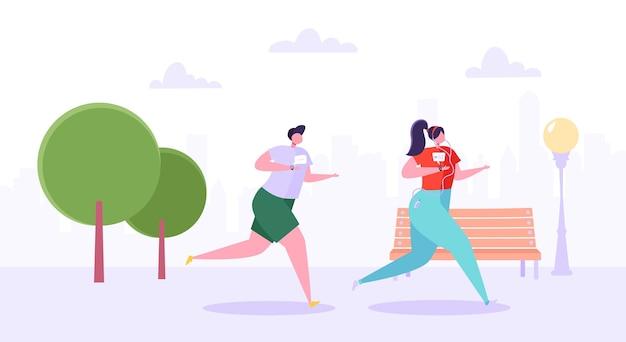 Мужчина и женщина персонажей, бегущих в парке. счастливые активные люди, бег трусцой. пара работает марафон. здоровый образ жизни, фитнес в городе. Premium векторы