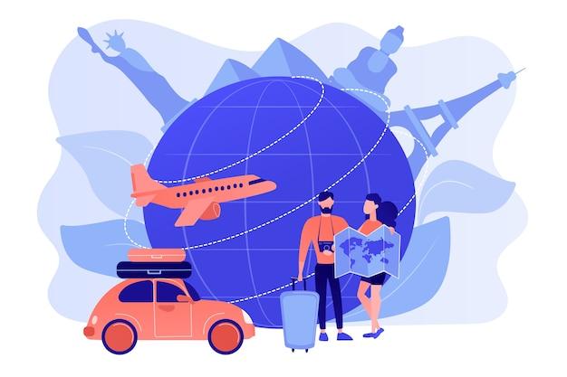 Мужчина и женщина выбирают направление путешествия, собираясь в отпуск Бесплатные векторы