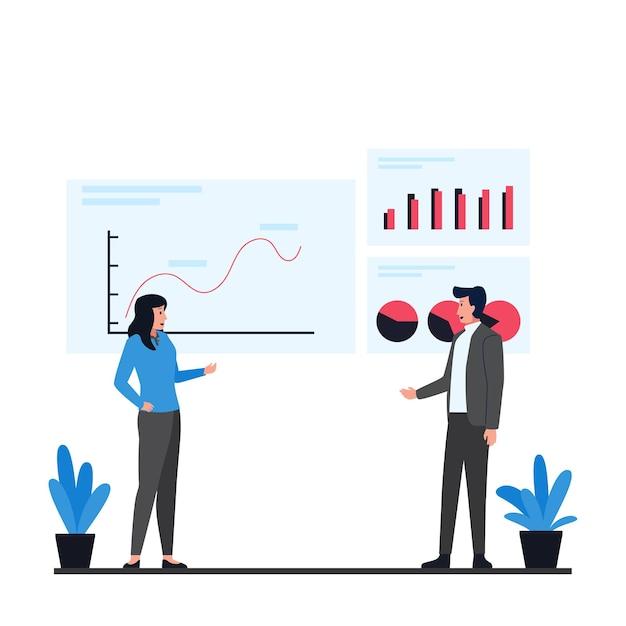 Мужчина и женщина обсуждают представление инфографической метафоры информации данных. Premium векторы