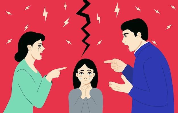 リッピングの背景に議論を持っている男と女 Premiumベクター