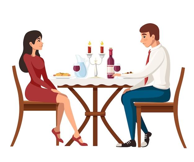 Мужчина и женщина на свидании в ресторане Premium векторы