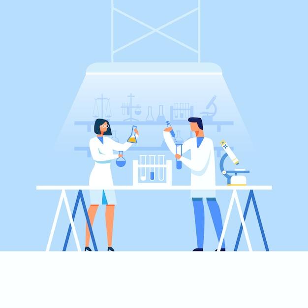 Ученые-мужчины и женщины разрабатывают новые лекарства Premium векторы