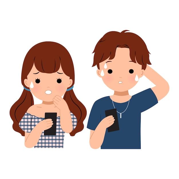Мужчина и женщина с тревогой смотрят на свой телефон. получение плохих новостей. плоские векторные картинки изолированные Premium векторы