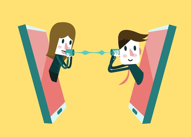 Man and woman talking on a mobile phone. flat design element. vector illustration Premium Vector