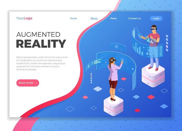 Мужчина и женщина в очках виртуальной реальности с дополненной реальностью трогают прозрачные экраны. изометрические технологии будущего. . шаблон целевой страницы Premium векторы
