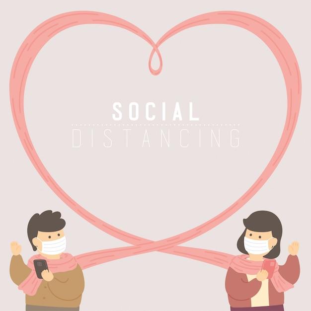 Мужчина и женщина с шарфом или шарфом в форме сердца держат расстояние до защиты от вспышки covid-19, плаката с концепцией социального дистанцирования или иллюстрации дизайна социального баннера на фоне, копией пространства Premium векторы