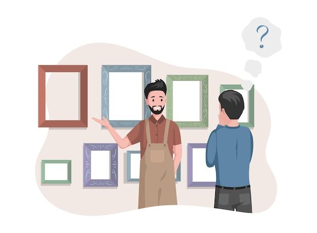 Man in apron selling frames for pictures in art studio illustration Premium Vector
