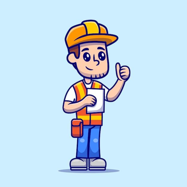 Man architect construction holding paper sketch cartoon vector  illustration. Free Vector