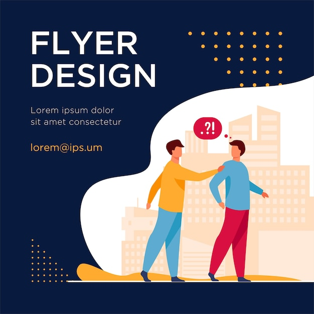 Man asking question other man in park. problem, confusion. flat flyer template Free Vector