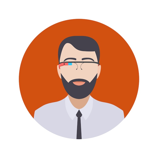 Man in the augmented reality glasses Premium Vector
