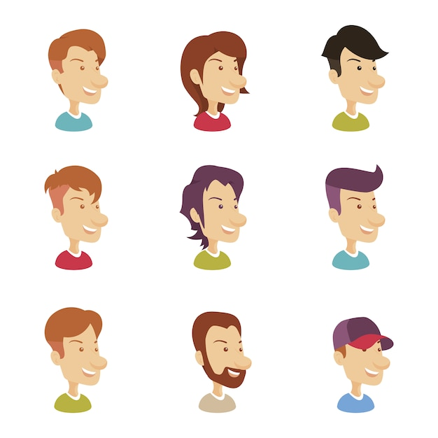 Man avatar collection Free Vector