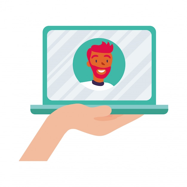 Man avatar on laptop in video chat design, call online conference and webcam theme vector illustration Premium Vector