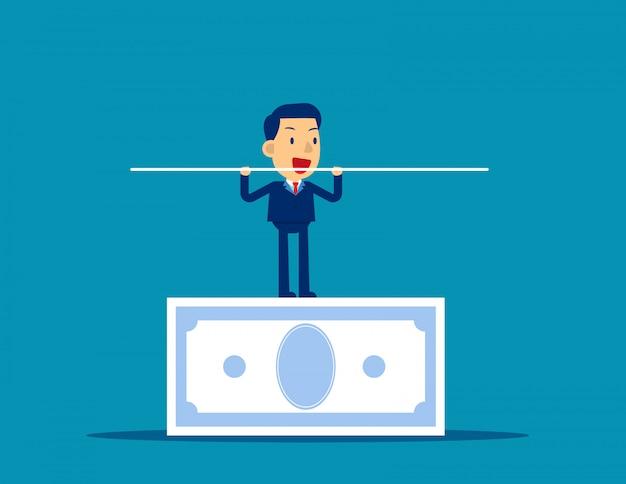 Man balancing on the banknote Premium Vector