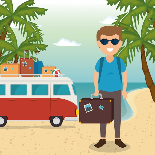 Man in the beach character Free Vector