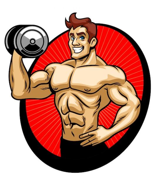 Man bodybuilder muscle gym Premium Vector