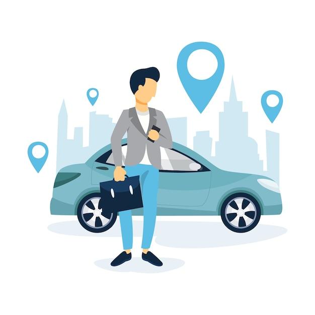Человек заказывает такси с помощью приложения на мобильном телефоне. транспортные услуги онлайн. концепция путешествия. иллюстрация Premium векторы