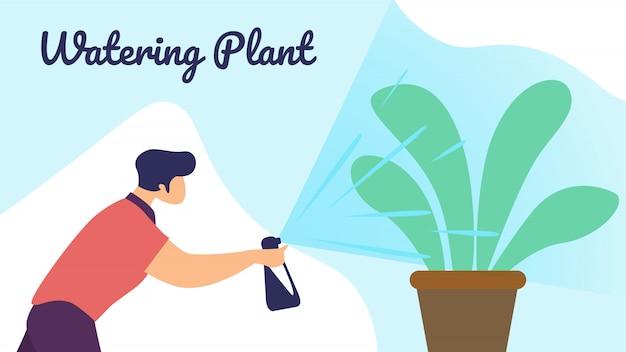 Man botanist watering home plant from sprayer bottle Premium Vector