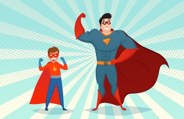 Man and boy superheroes retro illustration Free Vector