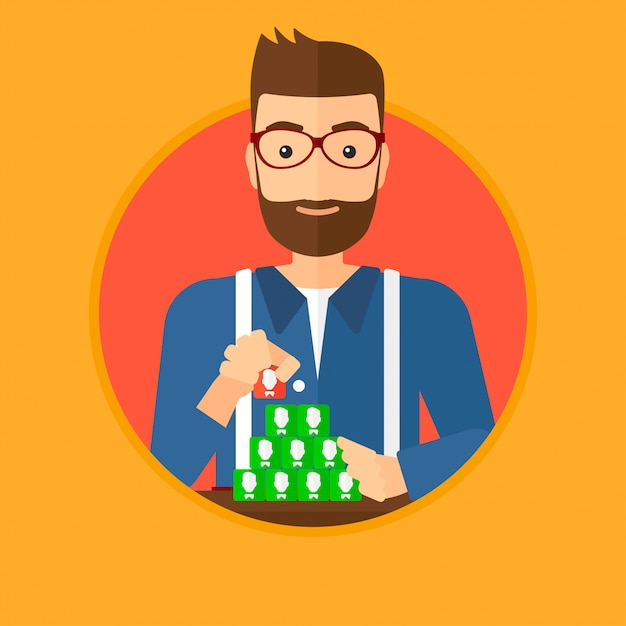 Man building pyramid of network avatars. Premium Vector