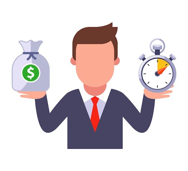 A man in a business suit holds money in one hand, and in the other time. Premium Vector