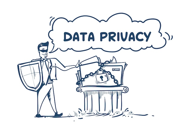 Man in business suit shield security data privacy Premium Vector