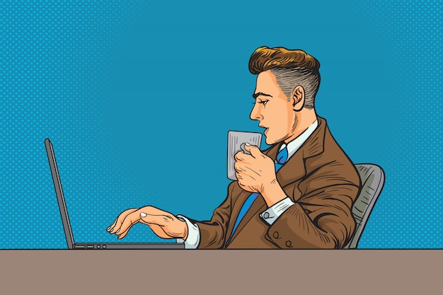 Man in business suit and working on a laptop and drinking coffee Premium Vector