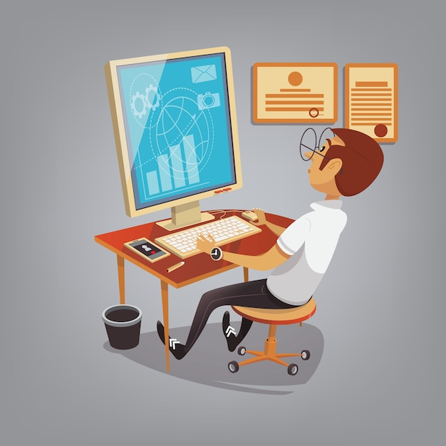 Man busy working with computer in office Premium Vector
