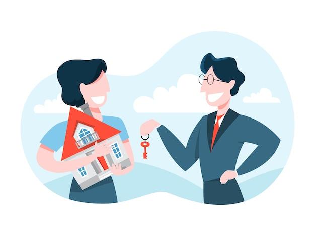Man buy house. real estate agent holding key Premium Vector