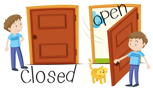 Man by closed and opened door Free Vector