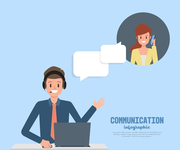 Man in call center occupation customer service character. Premium Vector