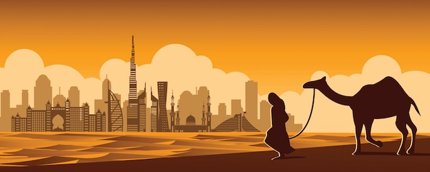 Man and camel walk in desert Premium Vector