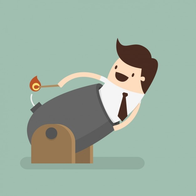 Man in a cannon design Free Vector