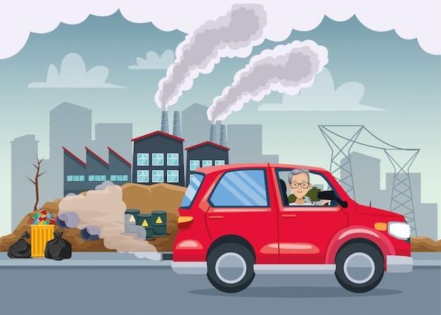 Man in car polluting scene Premium Vector