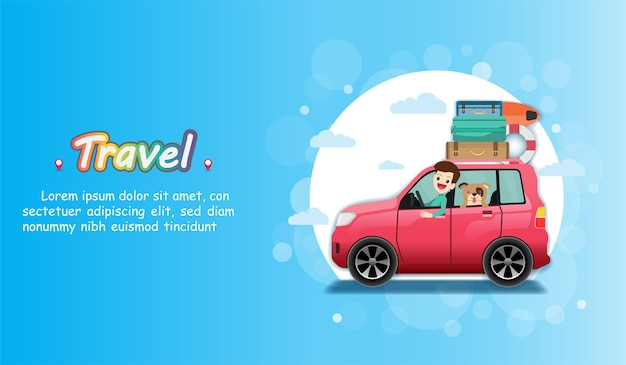 Man in car travel around the world concept. Premium Vector
