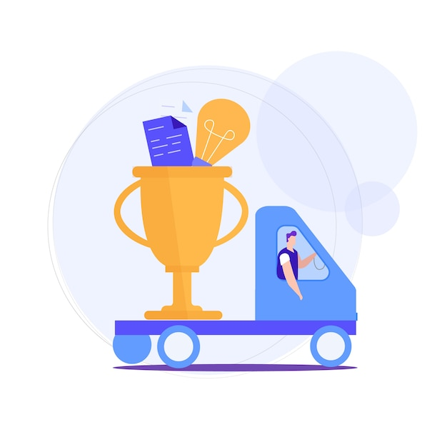 Man carries in truck awards for successful idea. Premium Vector