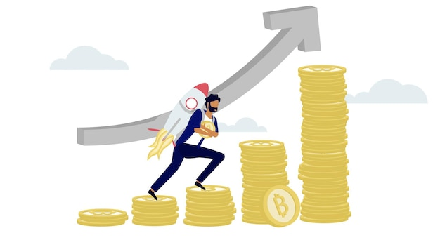 Premium Vector A Man Carry Rocket While Climbing The Step Of Cryptocurrency Bitcoin Tower In Soaring Upside Growth Price