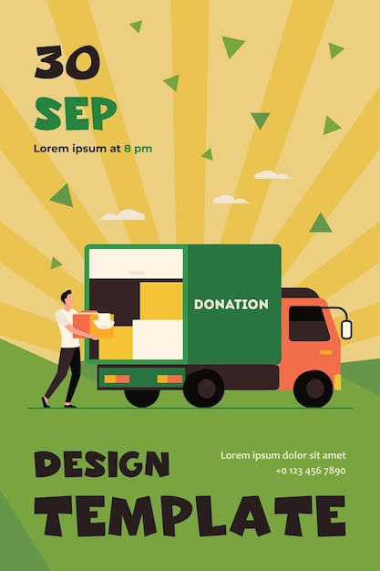 Man carrying box with clothes to donation truck. courier, volunteer, vehicle flat flyer template Free Vector