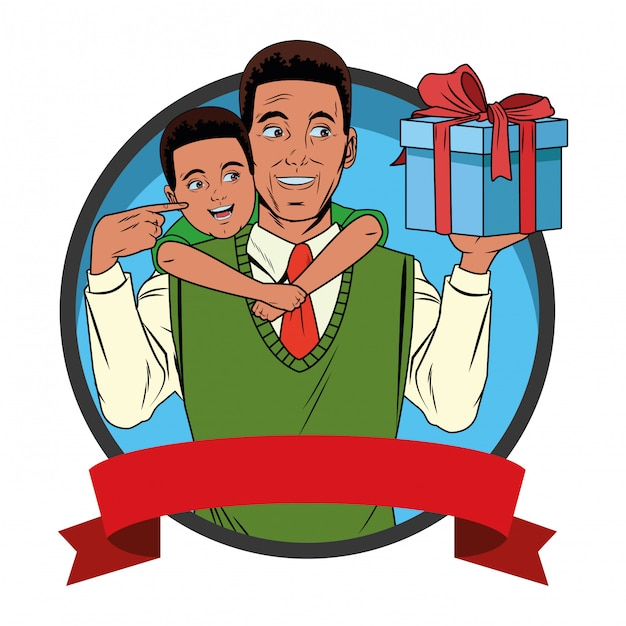Man carrying a boy with a gift box Free Vector