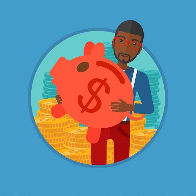 Man carrying piggy bank vector illustration. Premium Vector