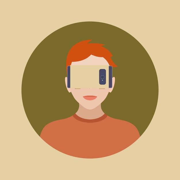 Man in the cartboard virtual reality headset Premium Vector
