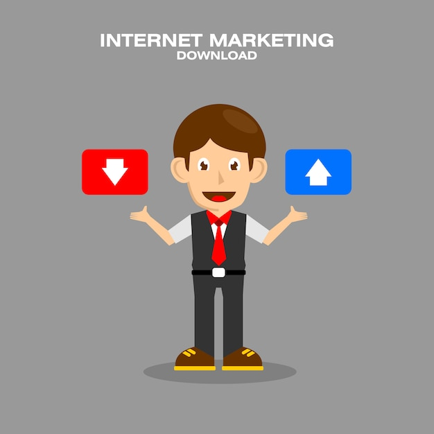 Man cartoon character hold download and upload button Premium Vector