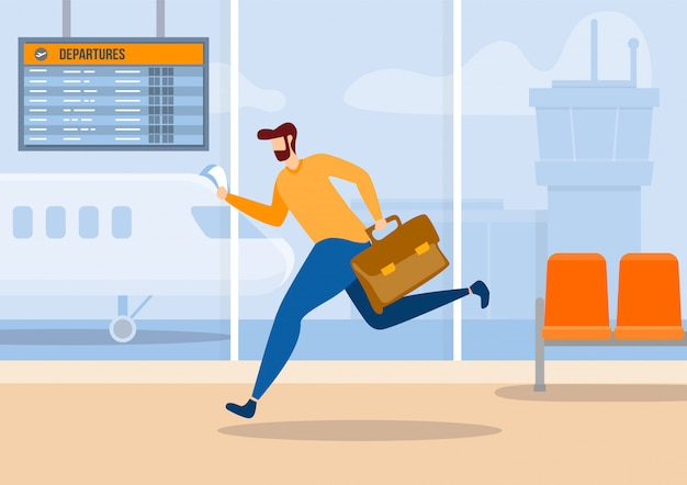 Man cartoon character late for plane flat banner Premium Vector